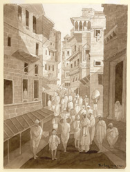 Crowds in the Thatheri or Pital, the brassworkers, bazaar, Benares